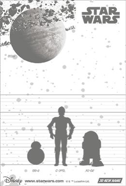 3Dポストカード スター・ウォーズ/フォースの覚醒 C-3PO R2-D2 BB-8 All-star Droids 裏面