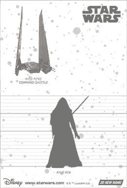 3Dポストカード スター・ウォーズ/フォースの覚醒 カイロ・レン the Attack of Kylo 裏面