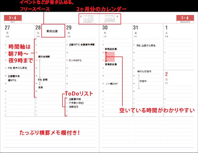 Appoint/アポイント バーチカルダイアリーの特徴 時間軸は、朝7時から夜9時まで。 イベントなどが書き込めるフリースペース、2か月分のカレンダー、Todoリスト、横罫メモ欄がついています。
