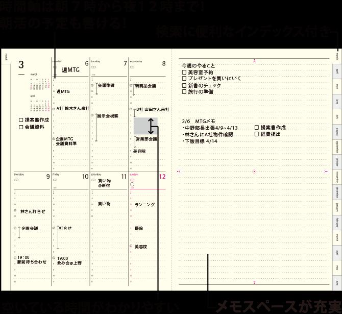 CONNECT GRAPHIC/コネクトグラフィック バーチカルレフト 時間軸は朝7時から夜12時まで!朝活の予定も書ける! 検索に便利なインデックス付き! 空いている時間がわかりやすい メモスペースが充実