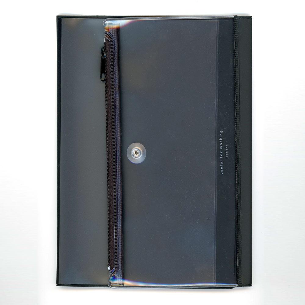isshoni. ペンケース付ノートカバーPVC A5対応 ブラック