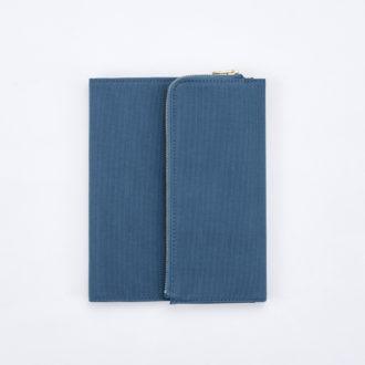 isshoni. ペンケース付手帳ノートカバー帆布 B6 ブルー N1880