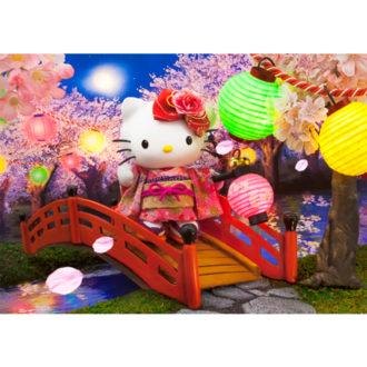 3Dポストカード ハローキティ ハローキティと夜桜散歩 F056