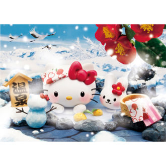 3Dポストカード ハローキティ ハローキティと雪見温泉 F055