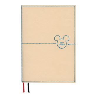 2017年1月始まり ディズニー Disney Diary ステッチワークミッキー 見開き1週間 A6 ベージュ E6085