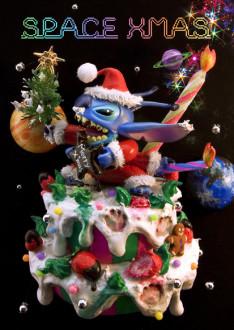 sisa 3Dポストカード エイリアン・スティッチ・クリスマス S3583