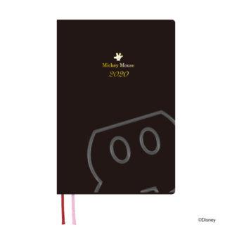 2020年1月始まり ディズニー Disney Diary B6 1週間+横罫 ミッキー ブラック E6138
